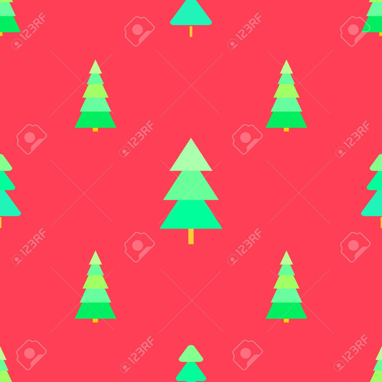 Seamless Pattern With Chrismas Trees Background Bright Texture Abstract Geometric Wallpaper