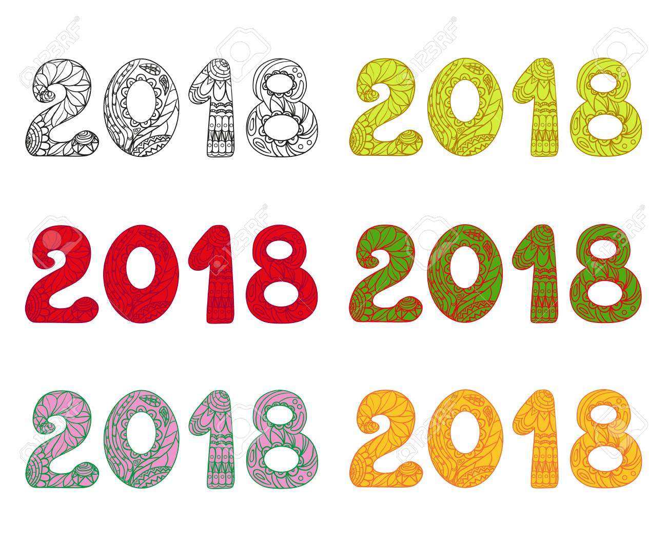 Happy New Year 2018. Hand Drawn Numbers With Abstract Patterns ...