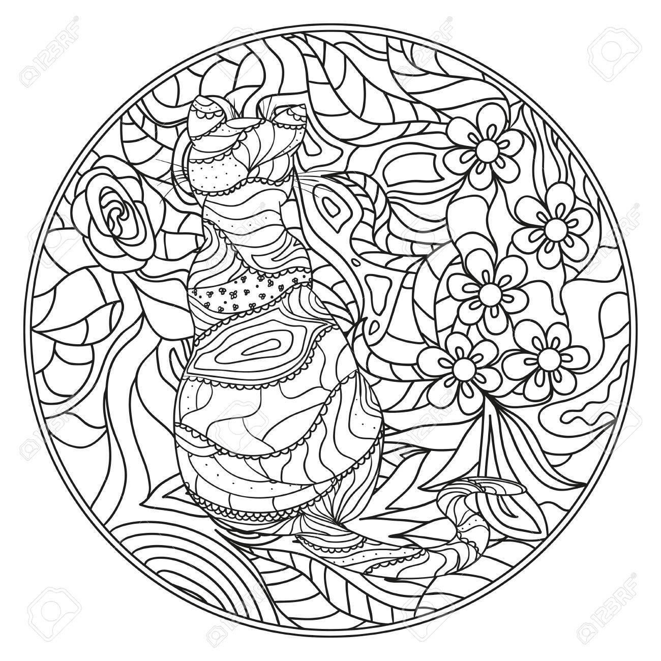 Katze. Zendala. Übergeben Sie Gezogene Mandala Mit Abstrakten ...