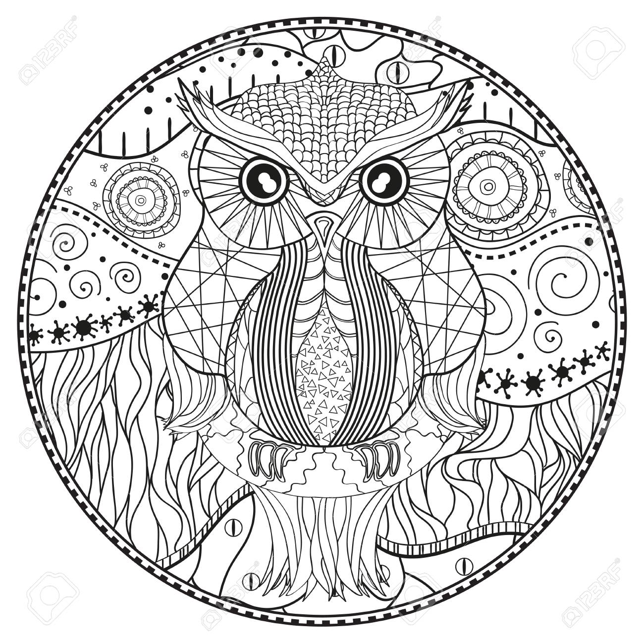 Mandala With Owl Design Hand Drawn Abstract Patterns On Isolation