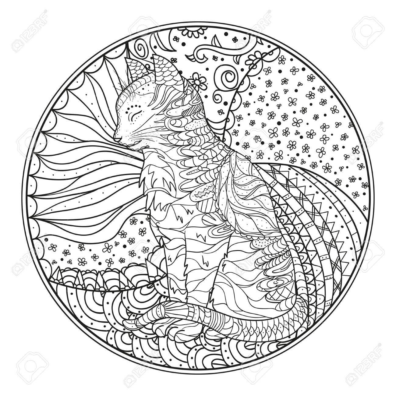 Katze. Mandala Hand Gezeichneten Zendala Mit Abstrakten Mustern Auf ...