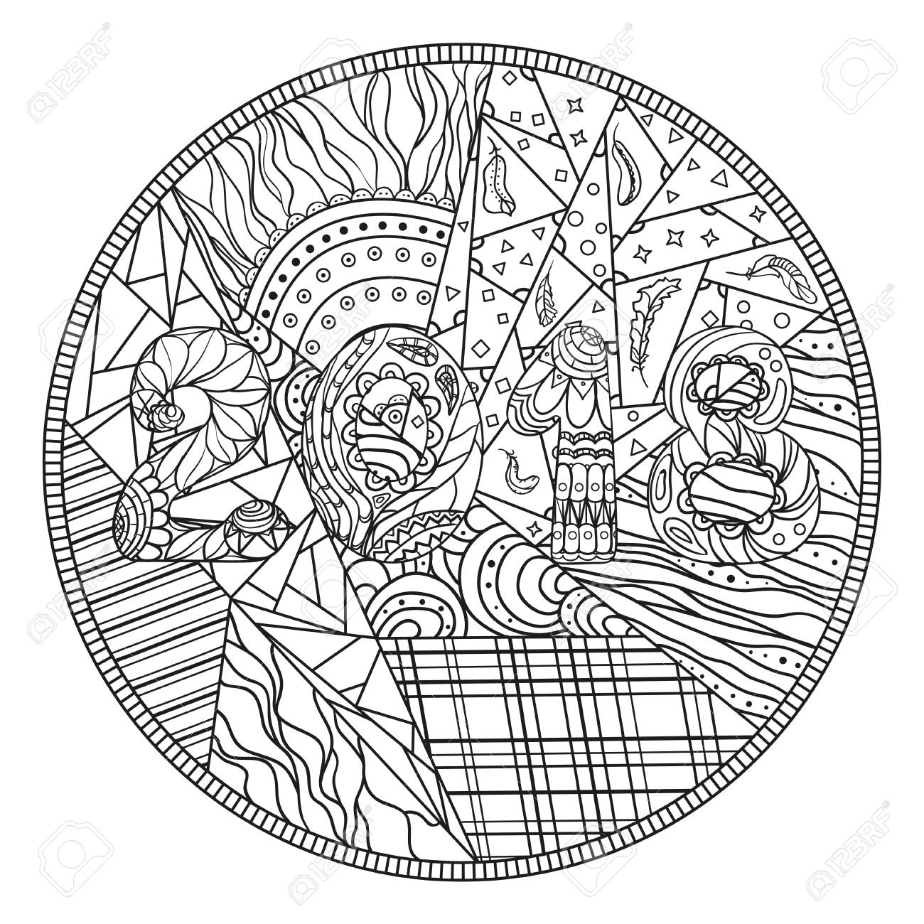 2018 happy new year abstract circle pattern hand drawn circle