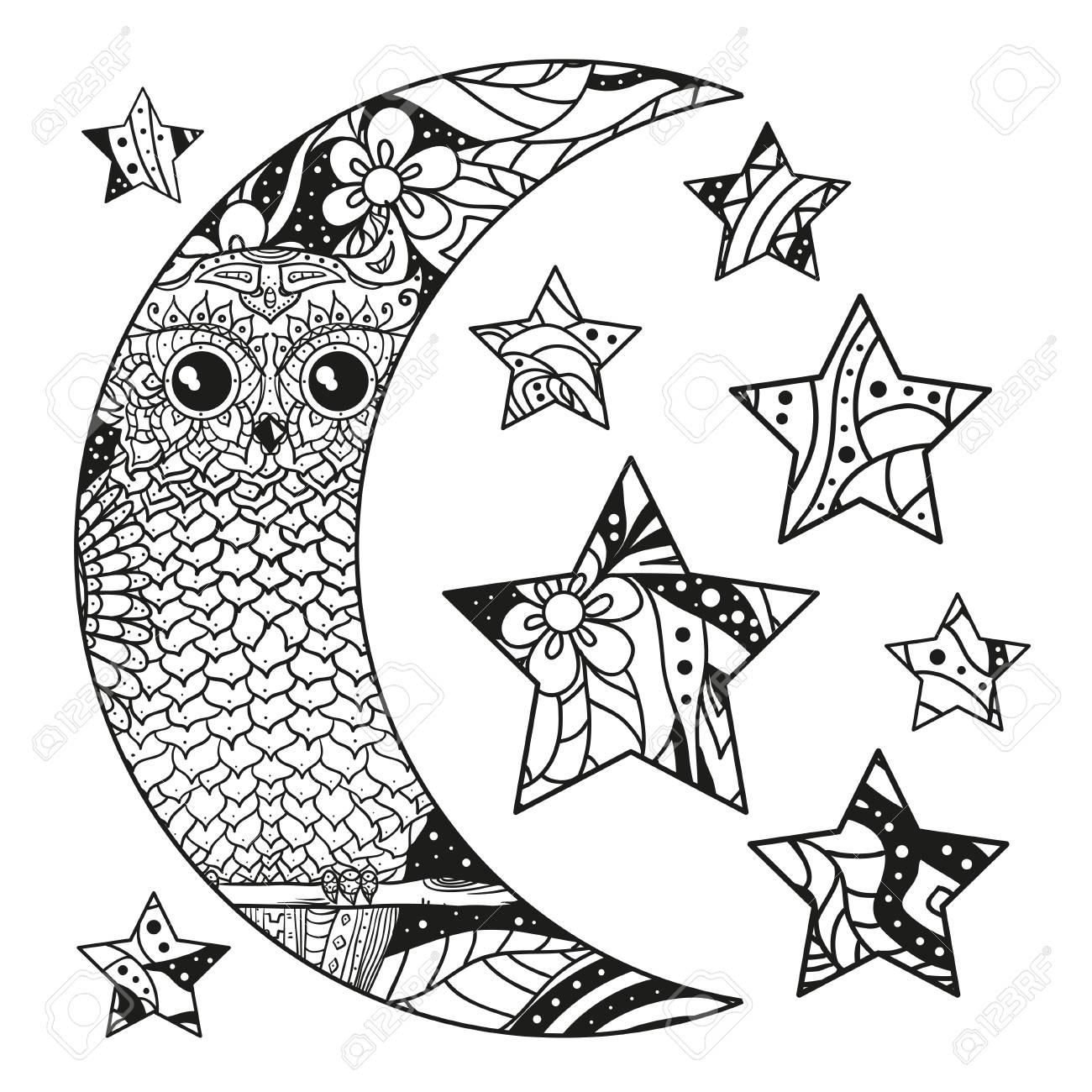 Coloriage Adulte A Imprimer Abstrait.Hibou Lune Et Etoile Avec Des Motifs Abstraits Sur Fond D Isolement Hibou Oiseau Concevoir Pour La Relaxation Spirituelle Pour Les Adultes