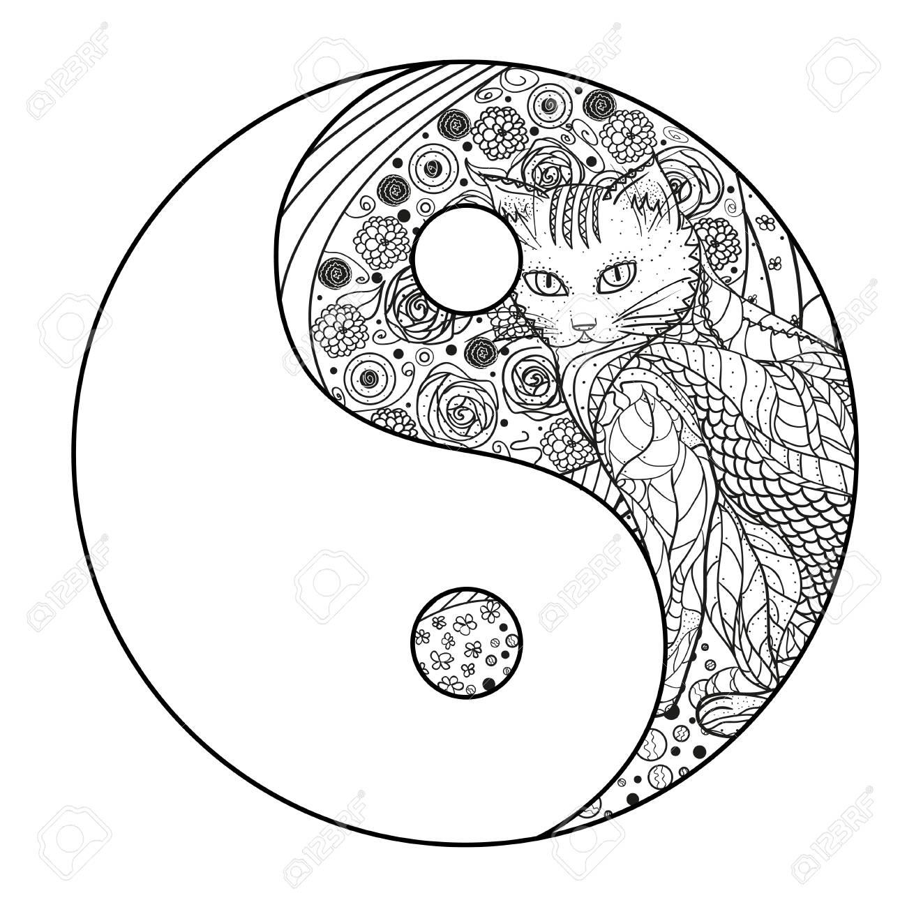 Chat Le Yin Et Le Yang Mandala Dessine Main Avec Chat Sur Fond D