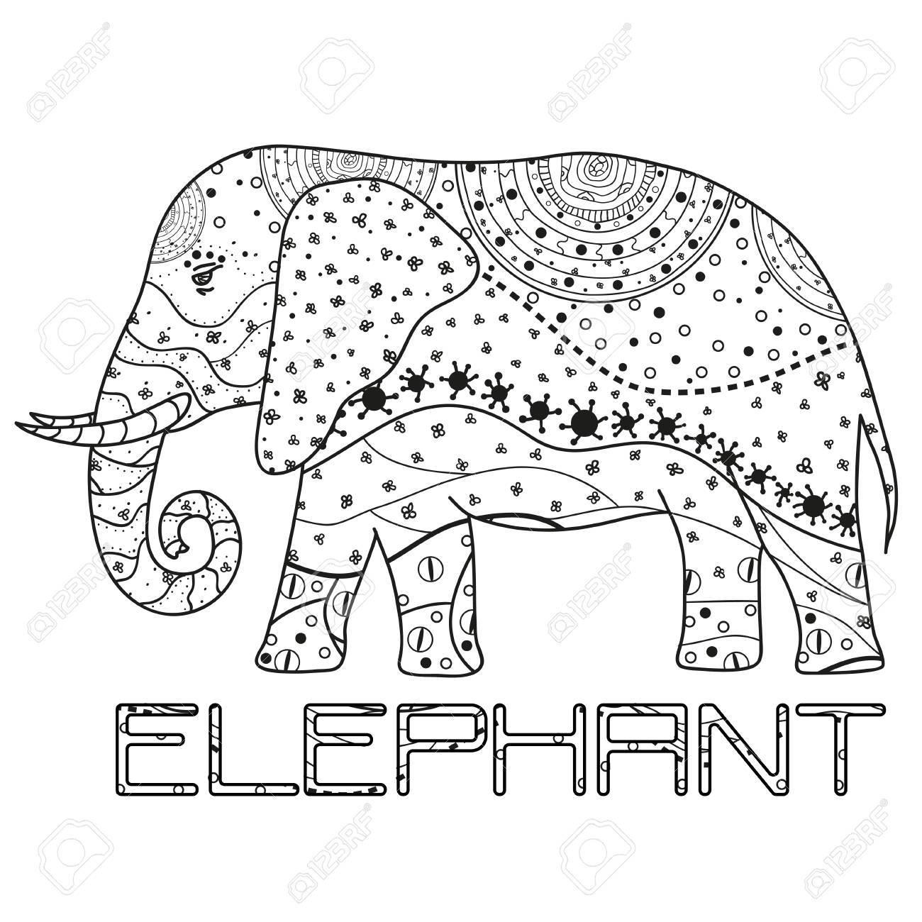 Elefant. Übergeben Sie Gezogenen Elefanten Mit Abstrakten Mustern ...