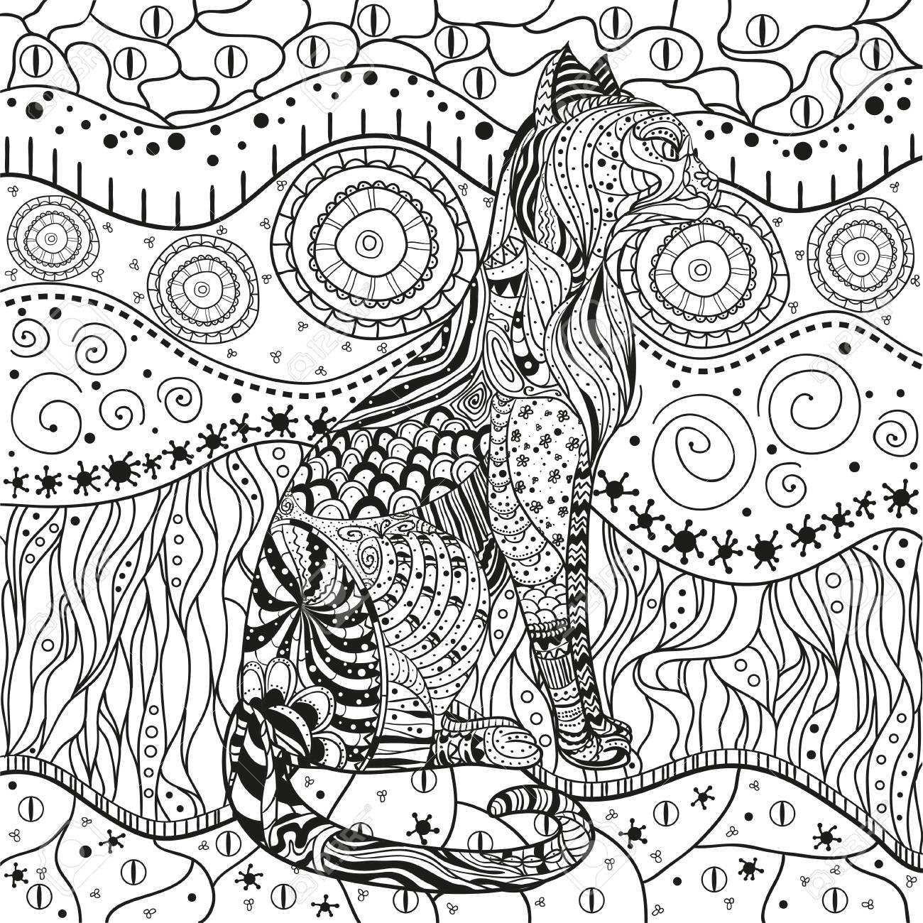 Katze. Mandala. Östliches Muster. Hand Gezeichneter Kreis Zendala ...