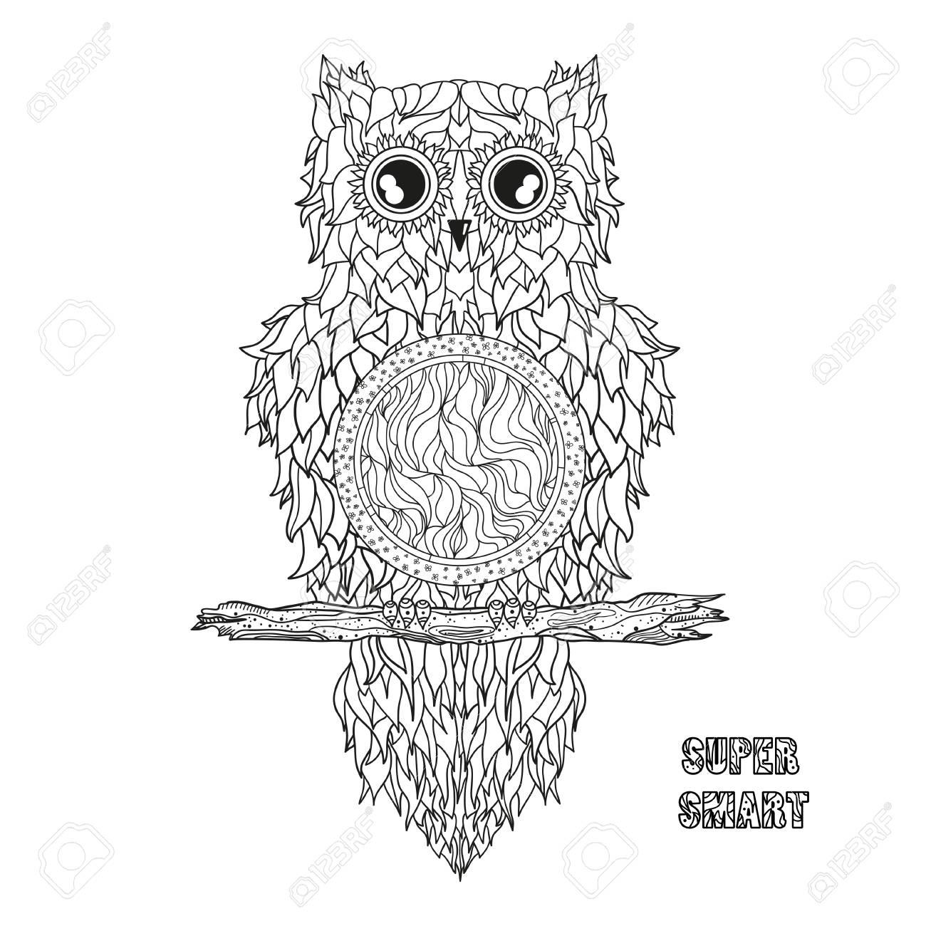 Búho. Mandala. Pájaro Bonito. Buho Nocturno Dibujado Mano Detallada ...