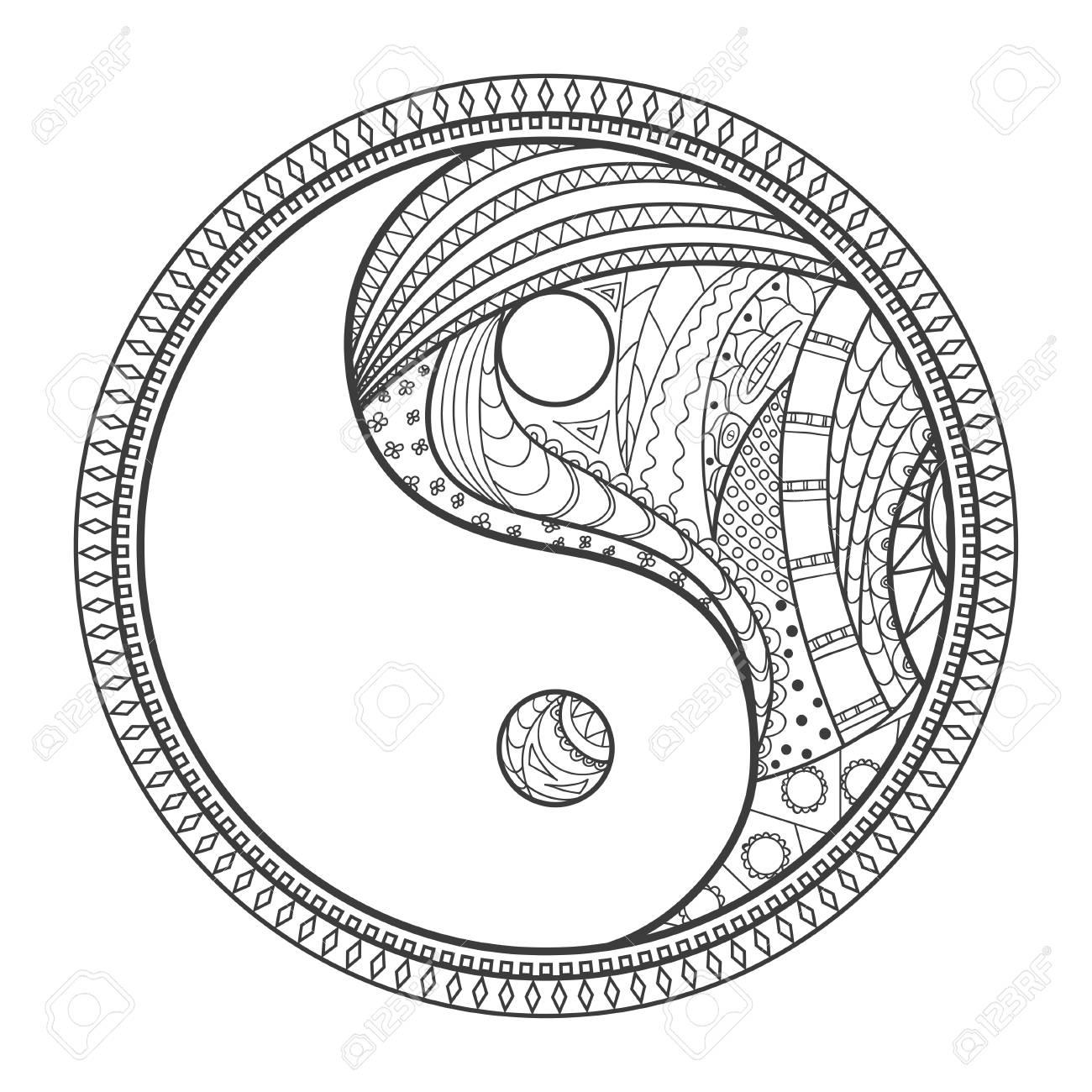 Yin Und Yang Religionssymbol Zentangle Hand Gezeichnete Mandala