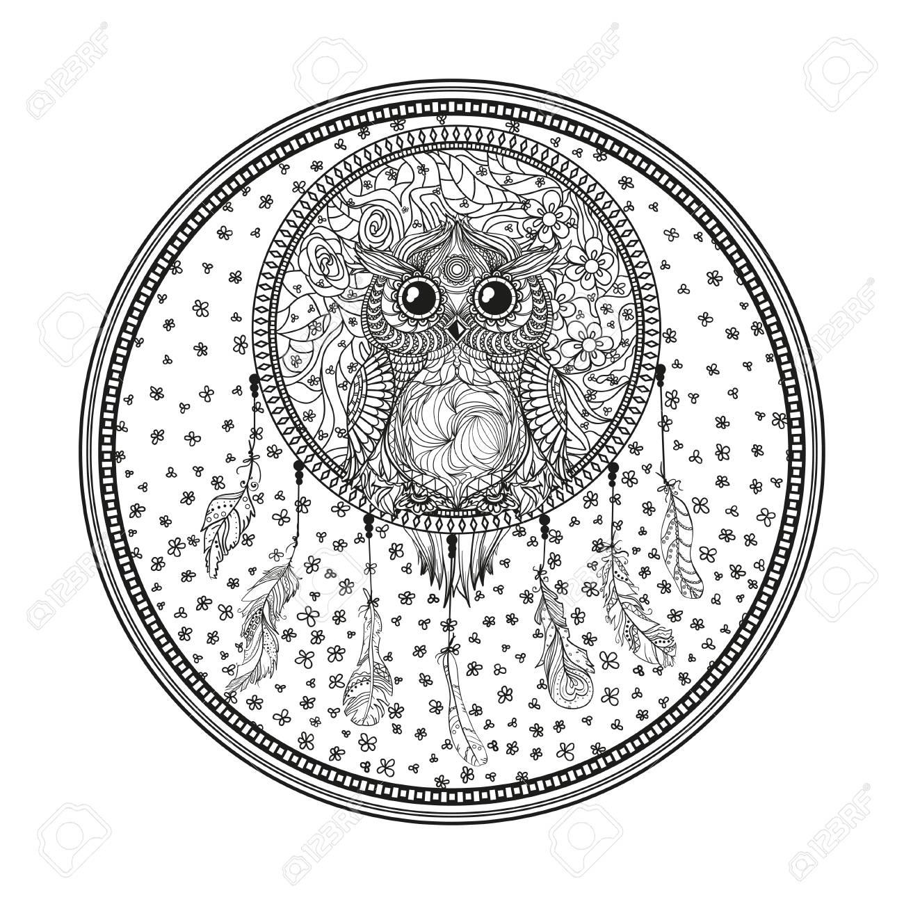Buho Tatuaje Mandala mandala. atrapasueños. búho. arte del tatuaje, símbolo místico. plumas  abstractas. imprimir para poligrafía y textiles. símbolo de los indios