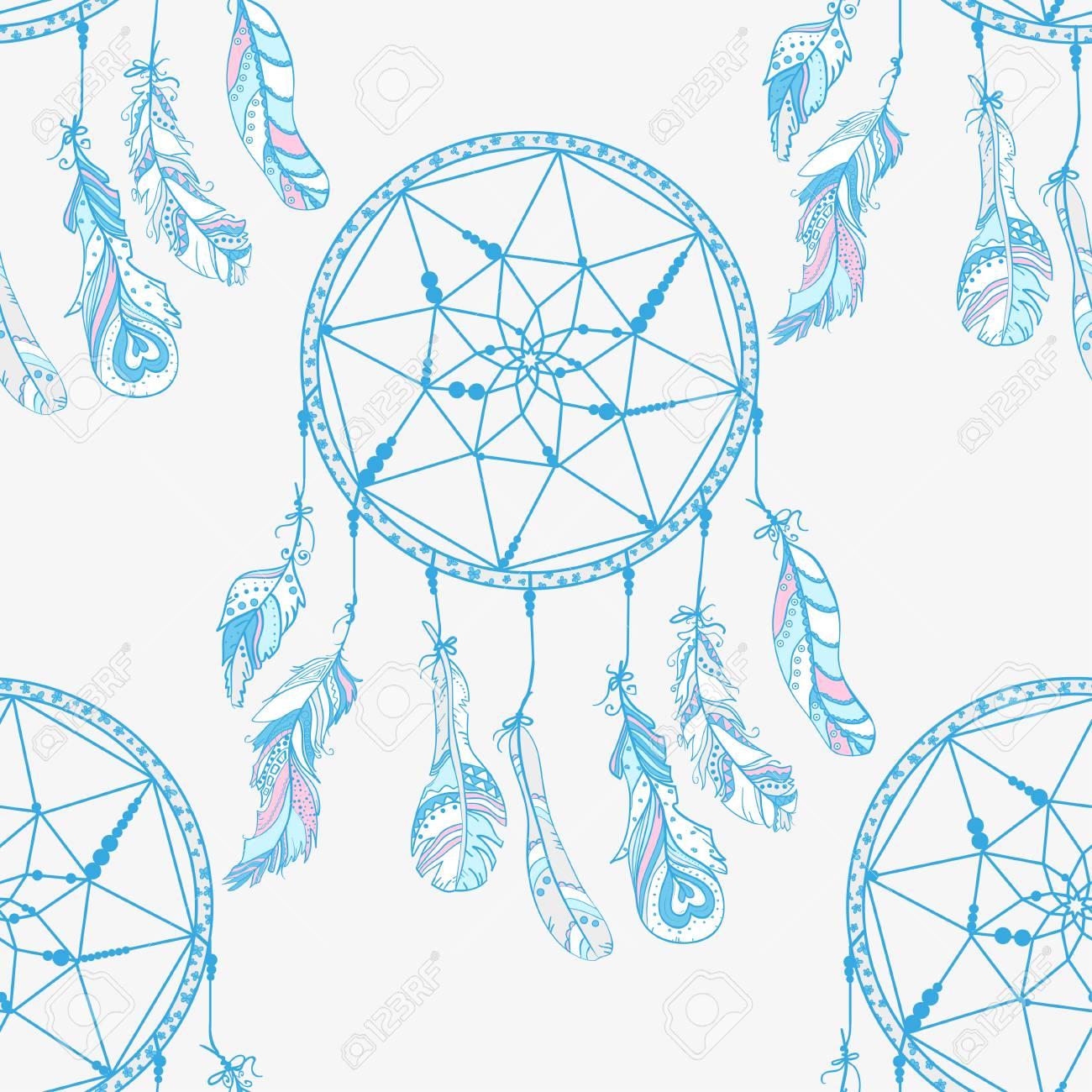 Atrapasueños. Símbolo Místico Patrón Sin Costuras Diseño Zentangle ...