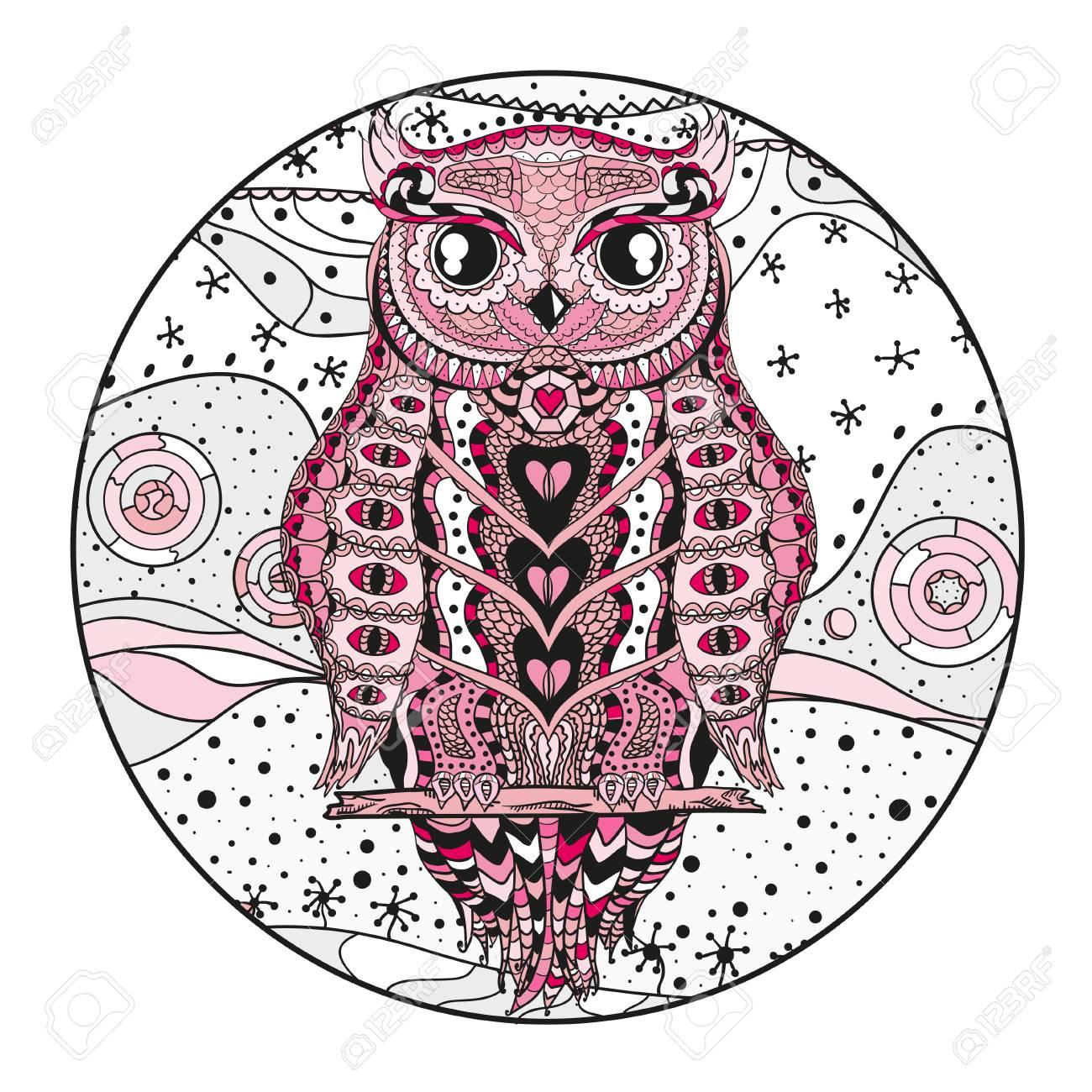 Owl Mandala Pattern Adult T Shirt