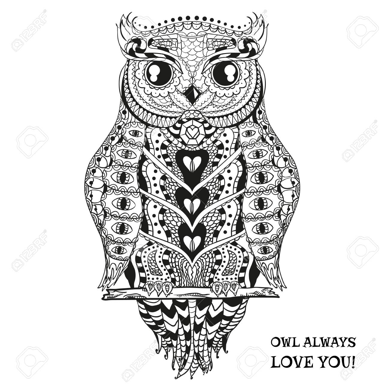 Owl Design Zentangle Hand Drawn Owl With Abstract Patterns