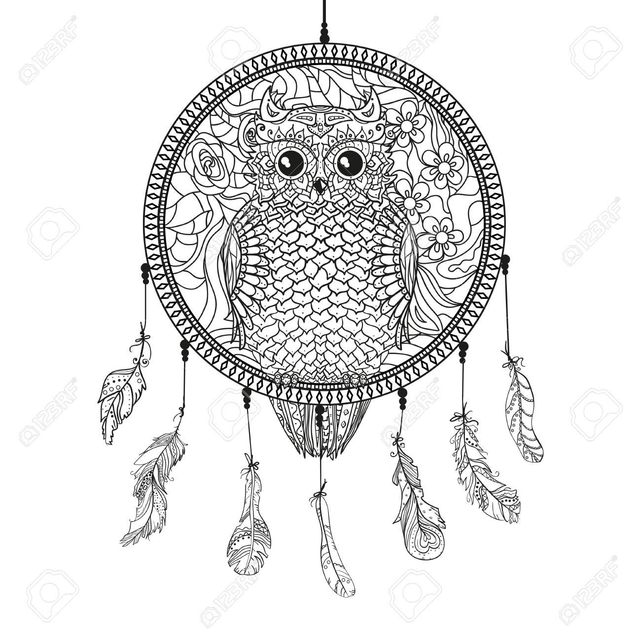Atrapasueños Con Búho Arte Del Tatuaje Símbolo Místico Imprimir