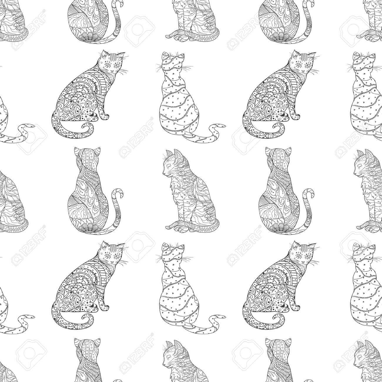 Gato. Patrón Sin Costuras Gato Dibujado A Mano Con Patrones ...