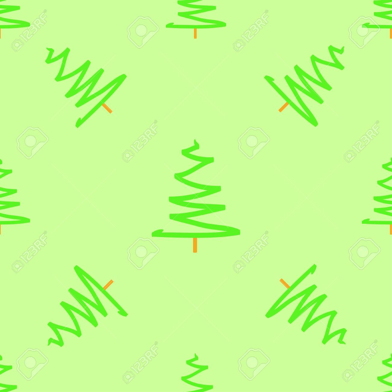 Seamless Pattern With Christmas Trees Abstract Geometric Wallpaper Art Green