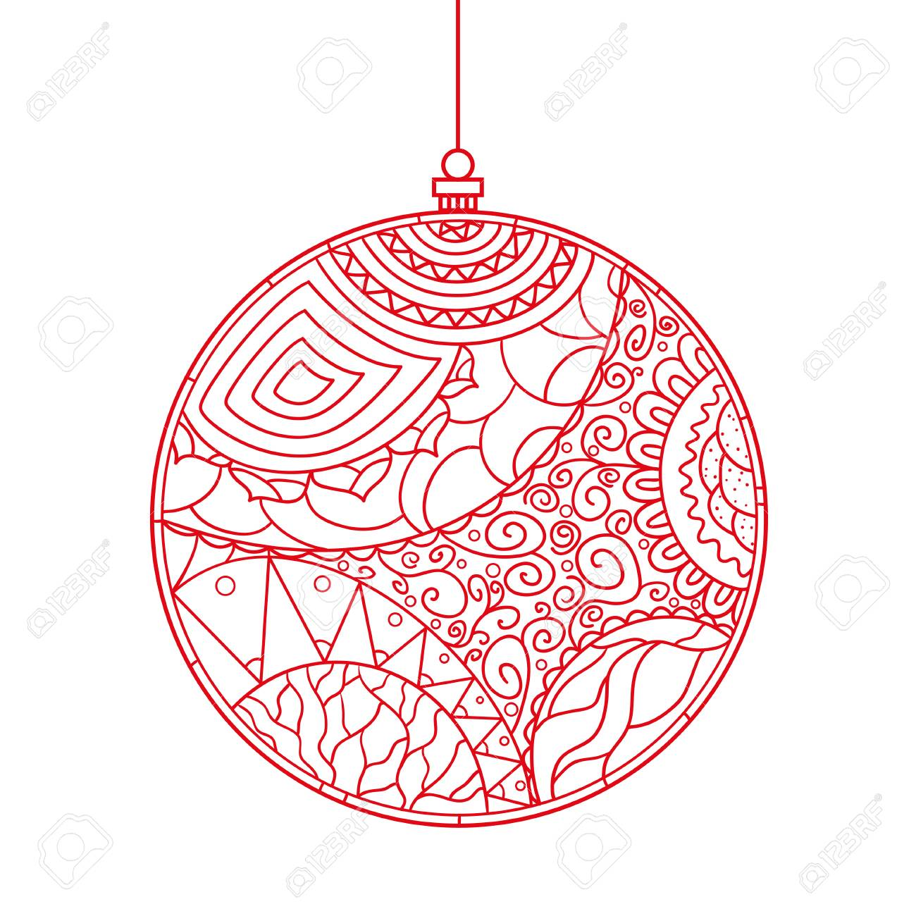 Christmas Tree Toy. Happy New Year. Zentangle. Stock Photo, Picture ...