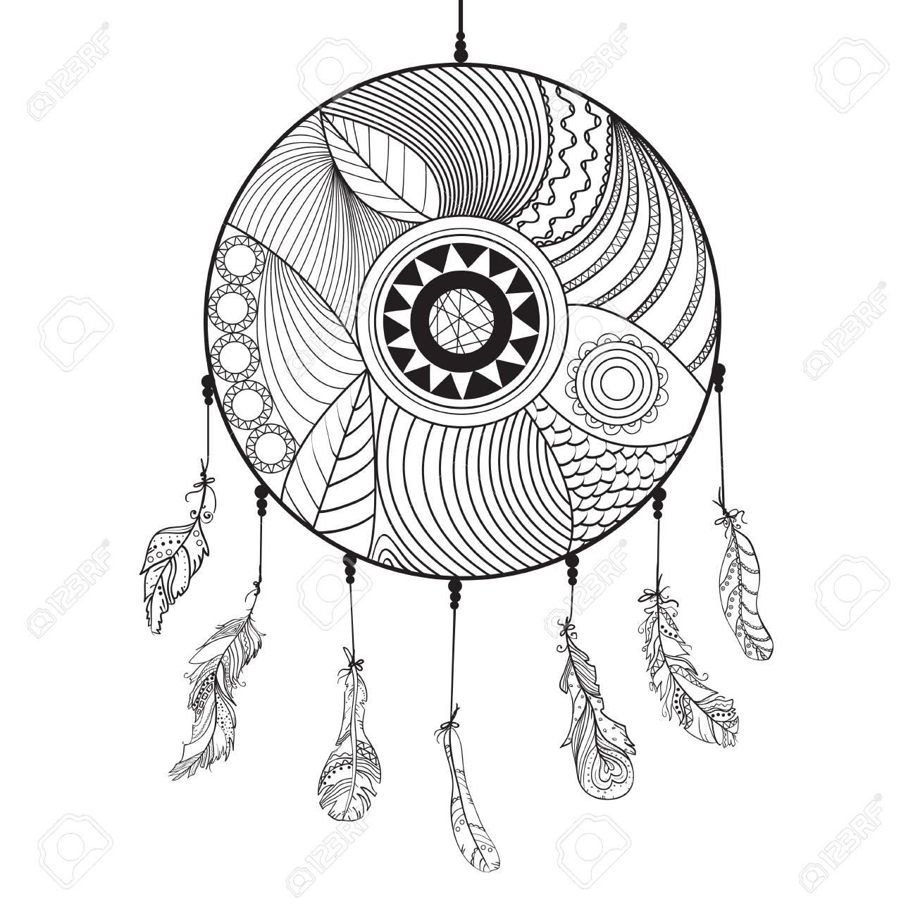 Atrapasueños Plumas Arte Del Tatuaje Símbolo Místico Plumas