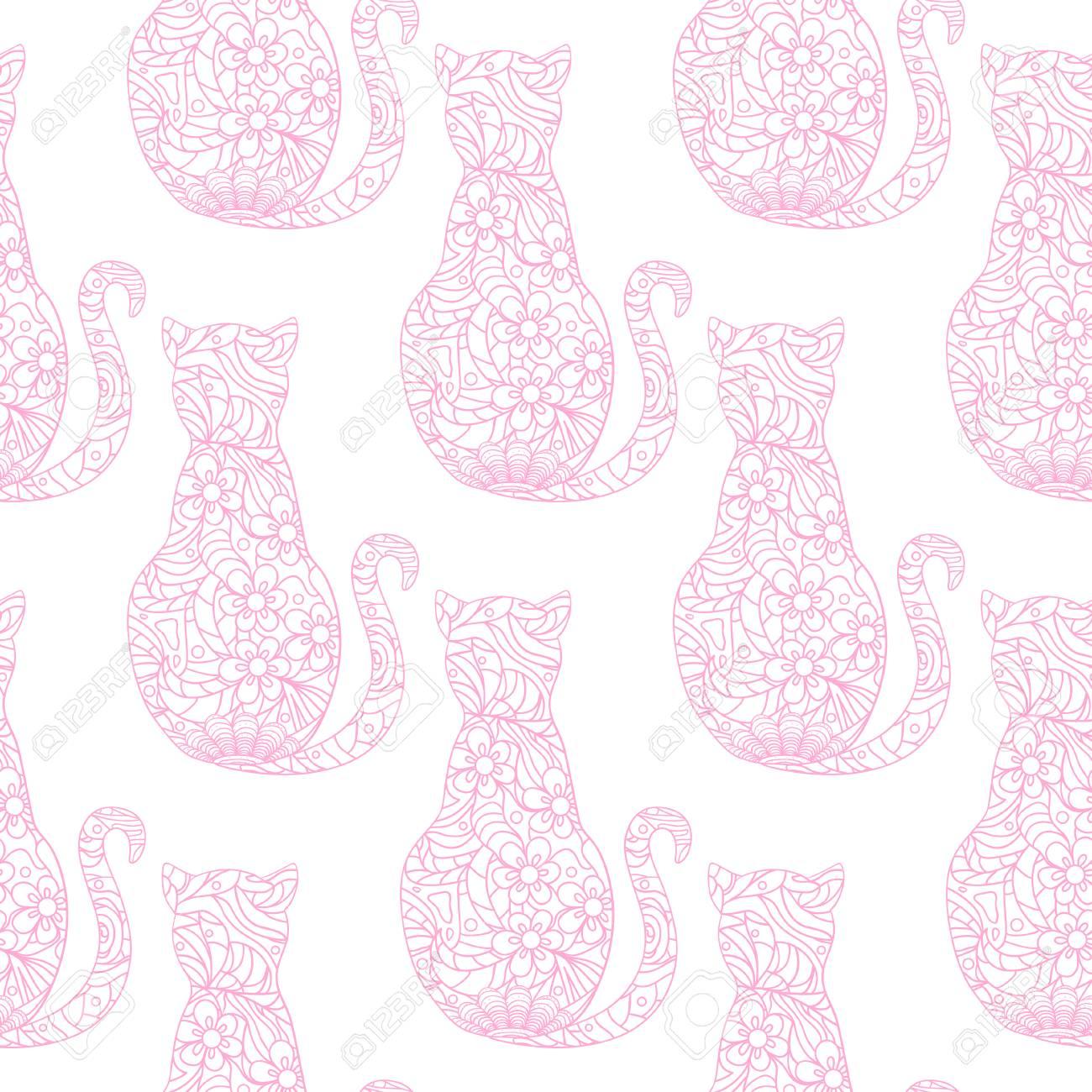 Gato. Patrón Sin Costuras Zentangle. Gato Dibujado A Mano Con ...