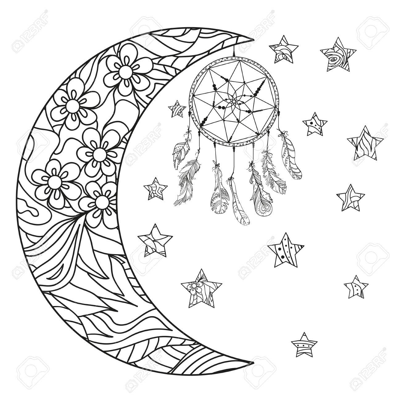 Media Luna Y Estrellas Atrapasueños Patrones Abstractos En El