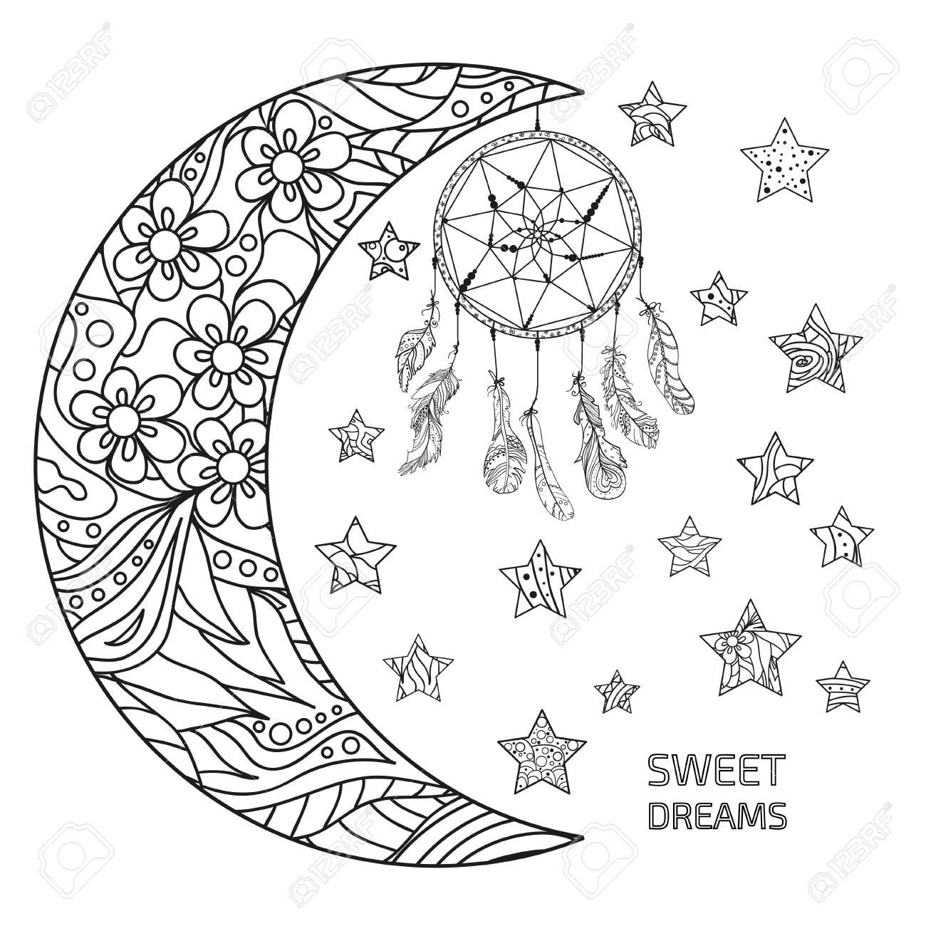 Media Luna Y Estrellas Atrapasueños Patrones Abstractos En El Fondo De Aislamiento Diseño Para La Relajación Espiritual Para Adultos Dulces