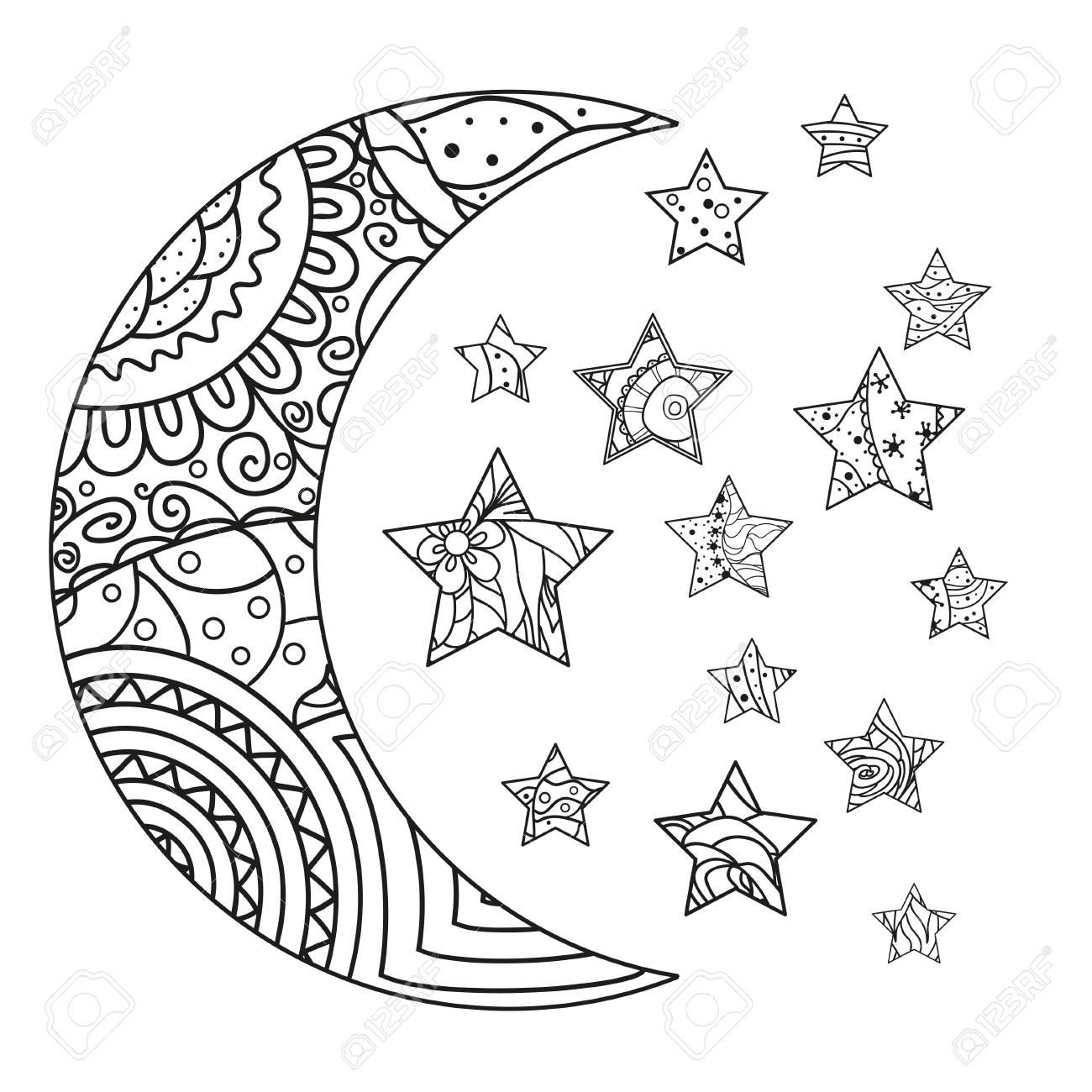 Luna Y Estrella Con Los Patrones Abstractos En El Fondo Del ...