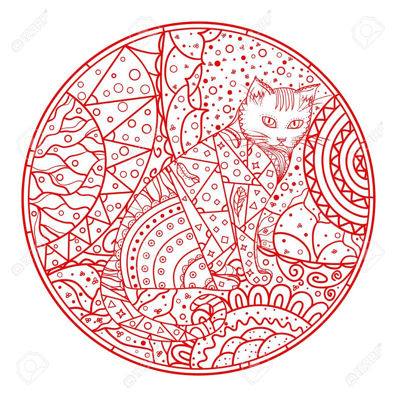 Chat Mandala Animal Dessiné à La Main Avec Des Motifs Abstraits Sur Fond D Isolement Concevoir Pour La Relaxation Spirituelle Pour Les Adultes