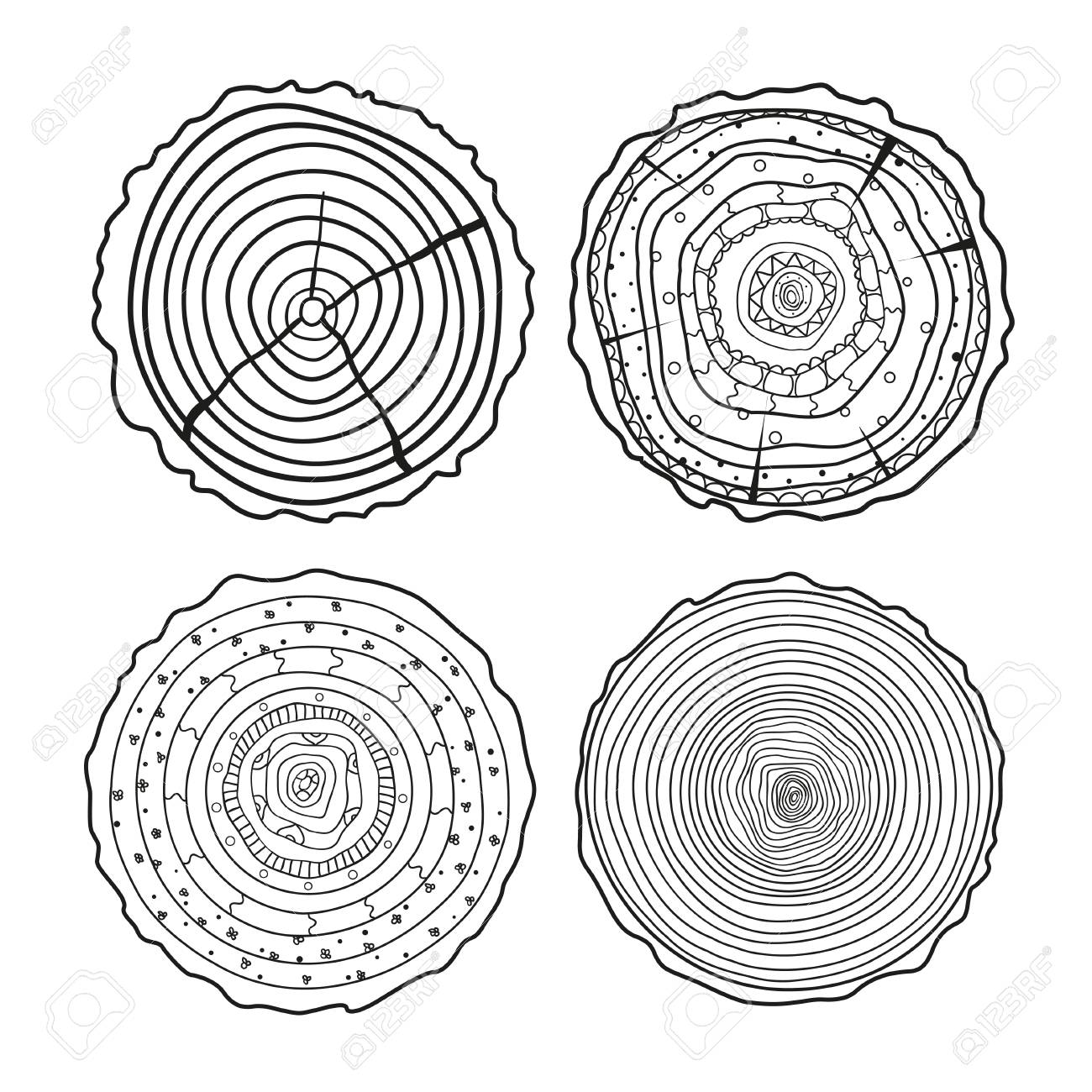 Tree Rings Mandala Objects For Design Set Of Tree Rings On