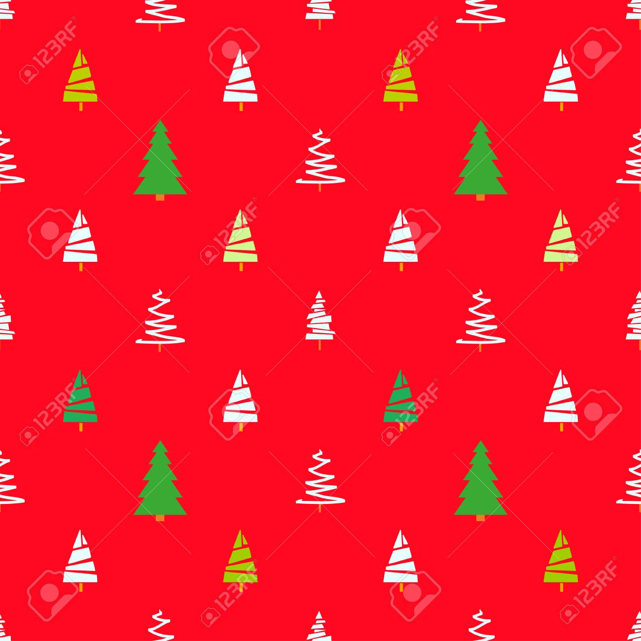 Seamless Pattern With Christmas Trees Abstract Geometric