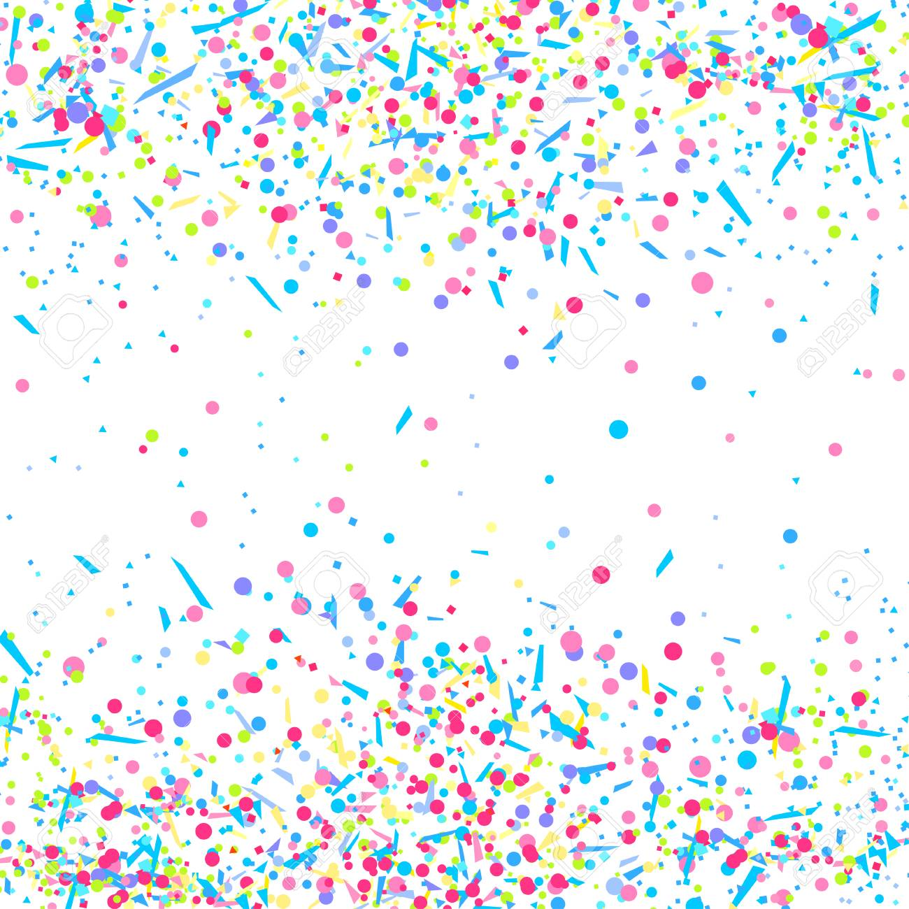 White Template | Colored Glitters On White Geometric Background With Confetti