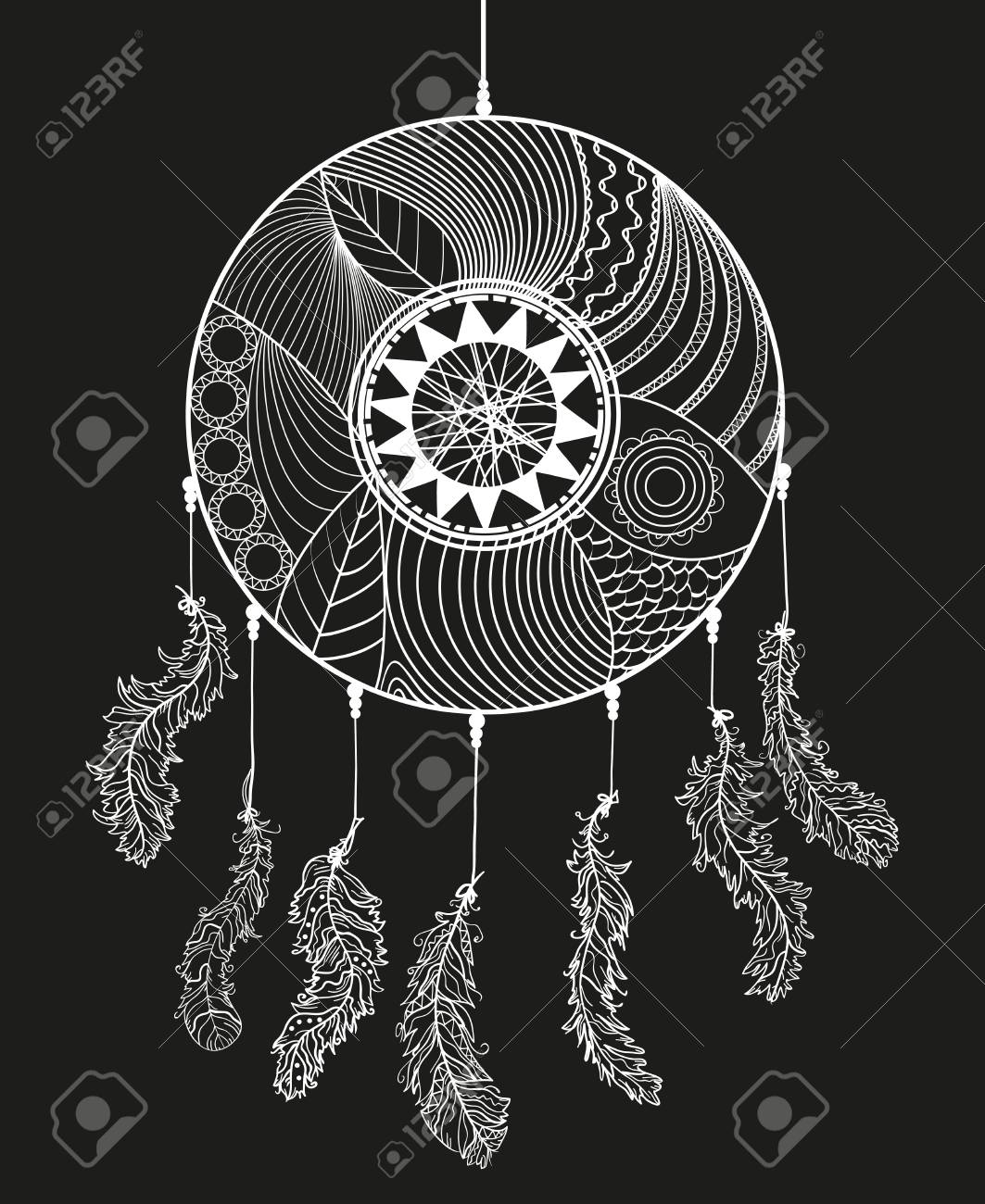 Hand Drawn White Dreamcatcher On Black Background Zentangle