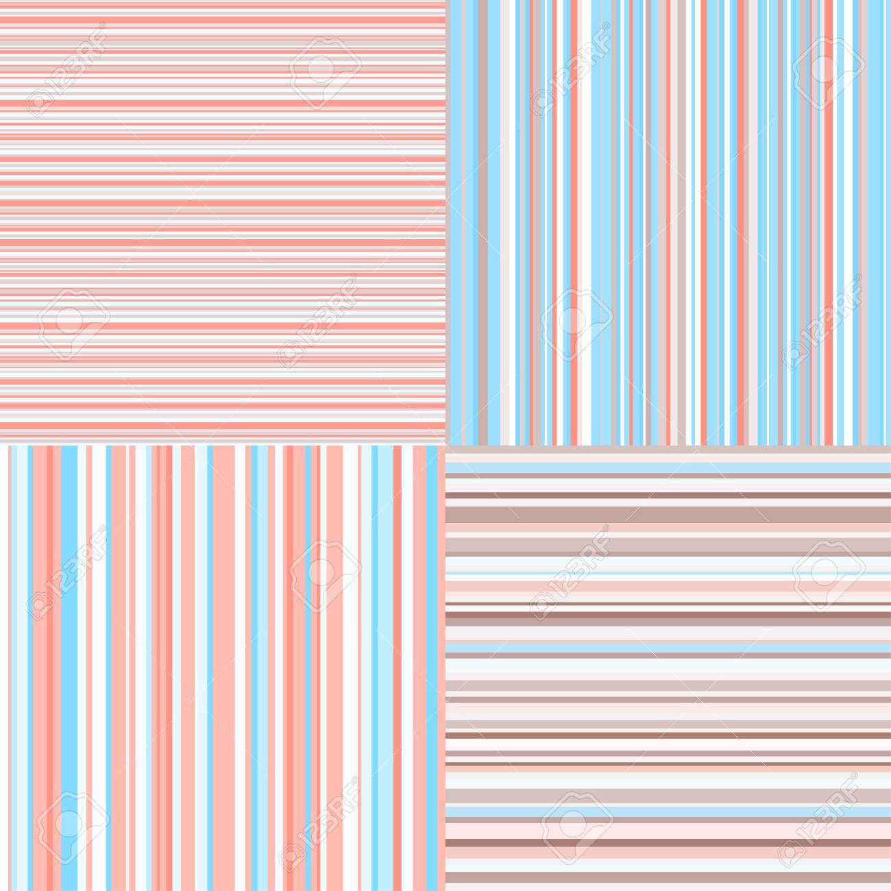 Set Of Seamless Colored Patterns Pretty Pastel Colors Abstract