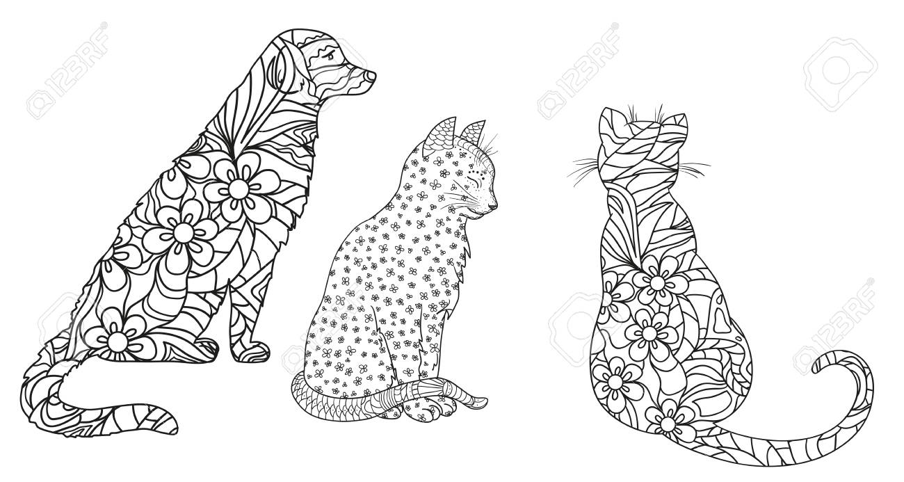 Dog And Cats On White Hand Drawn Animals With Abstract Patterns