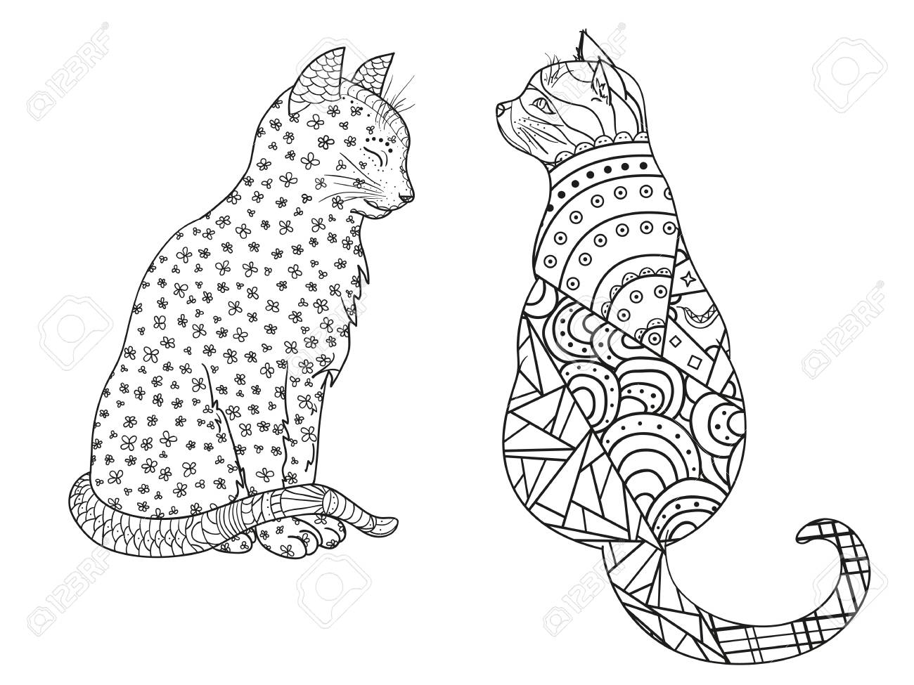 cats on white zentangle hand drawn animals with abstract patterns on isolation background design for