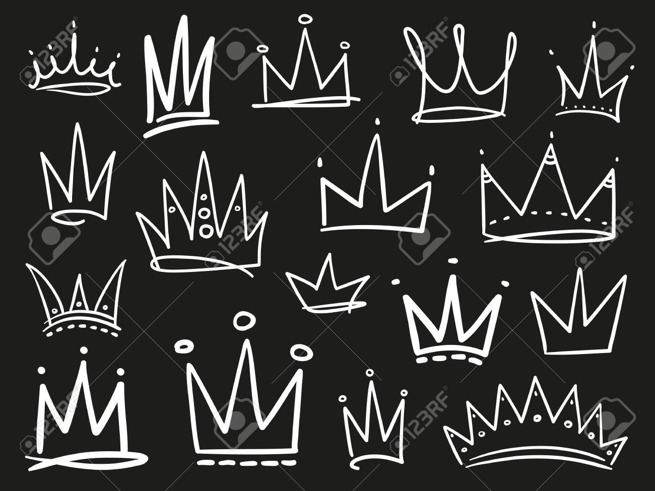 Collection of crowns on black. Hand drawn abstract objects. Line art. Black and white illustration - 124503837