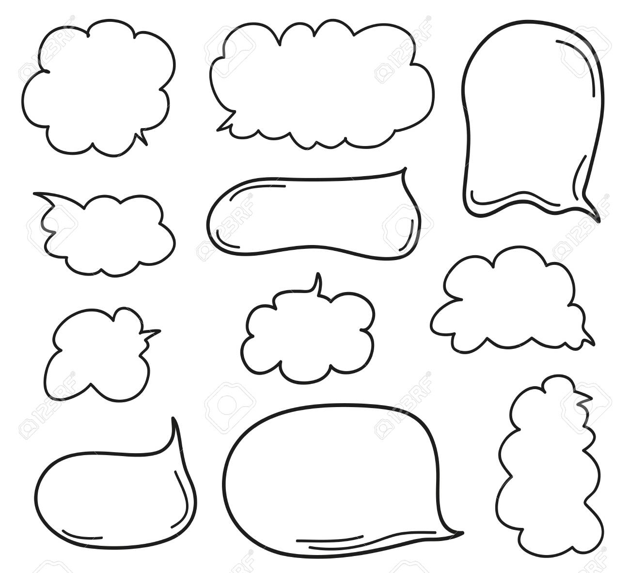 Hand drawn infographic elements on isolation background. Set of think and talk speech bubbles. Doodles on white. Black and white illustration - 127194014