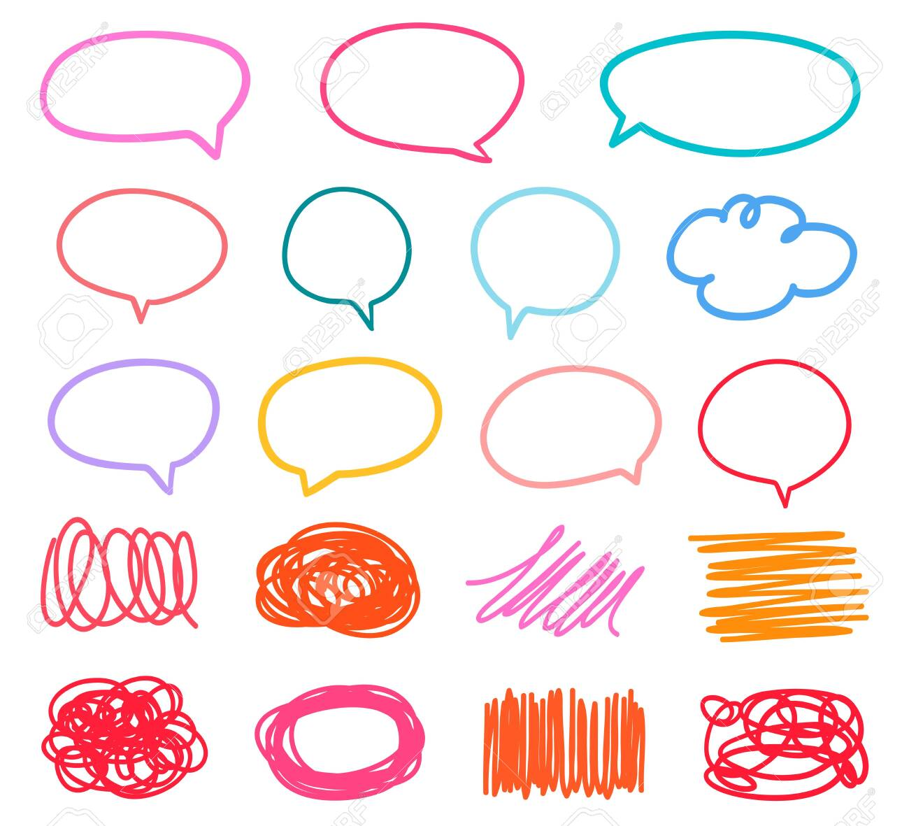Colored sketchy shapes on white. Set of hand drawn think and talk speech bubbles. Scribble colorful backgrounds with array of lines. Line art creation - 127194529