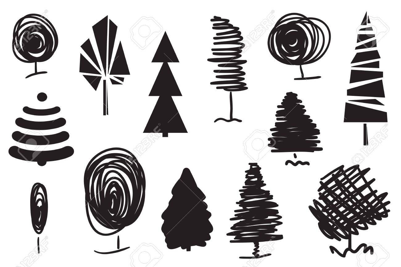 Trees on white. Set for design on isolated background. Geometric art. Objects for polygraphy, posters, t-shirts and banners. Black and white illustration - 130483317