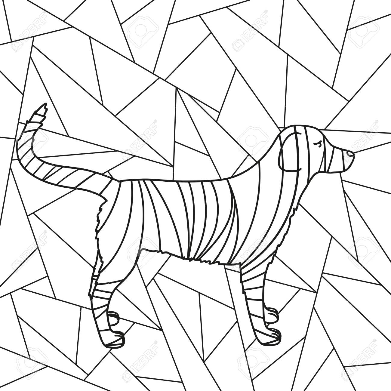 Abstract stained-glass window. Abstract dog. Design for spiritual relaxation for adults. Black and white illustration for coloring - 151885097