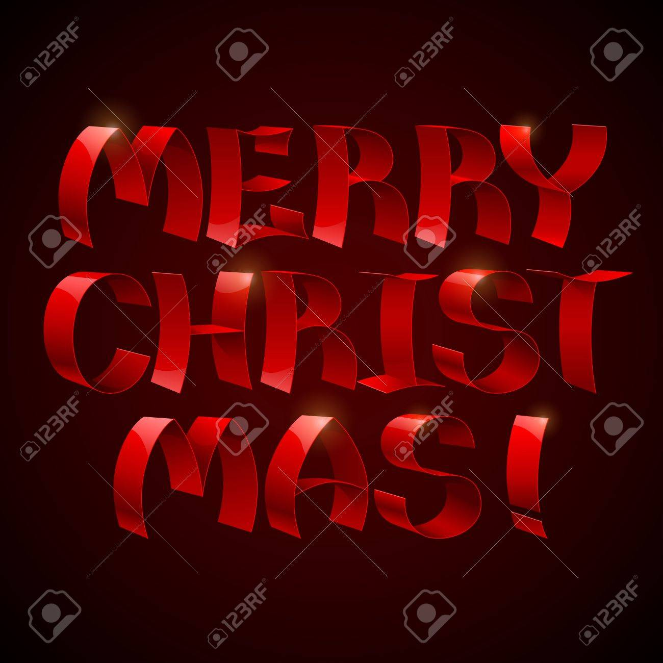Isolated 3d Shiny Red Ribbons Merry Christmas Text On Black ...