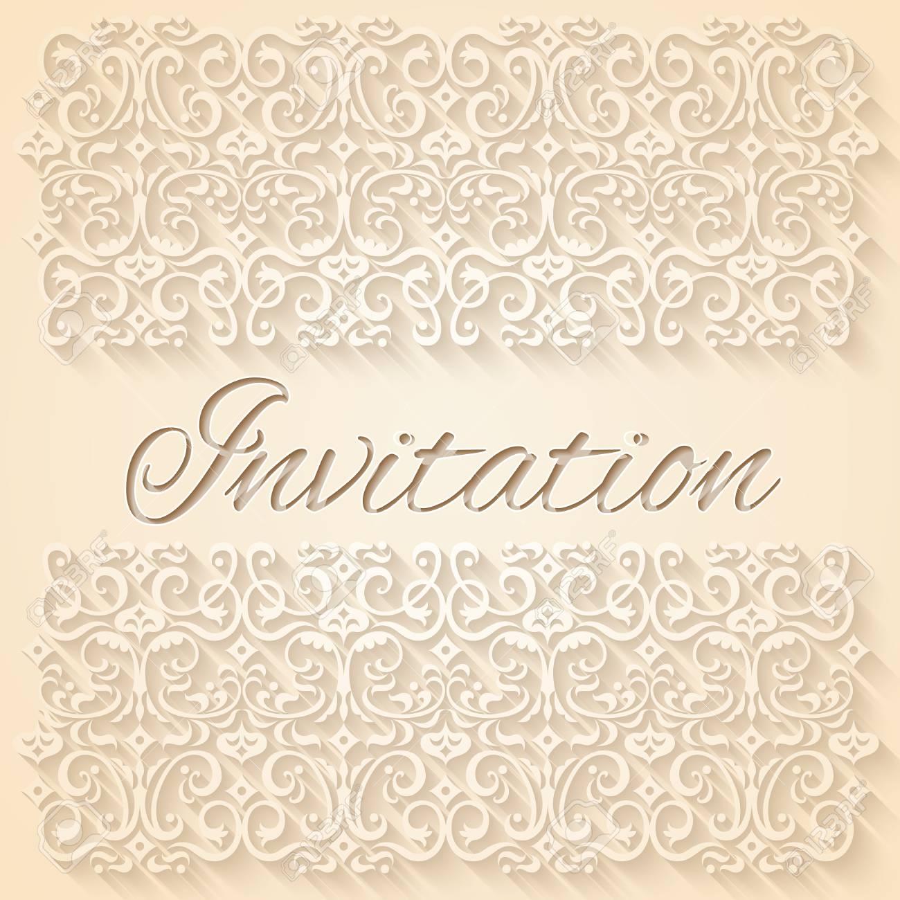 Beige floral ornament wedding invitation card rgb eps 10 vector illustration stock vector 47485645