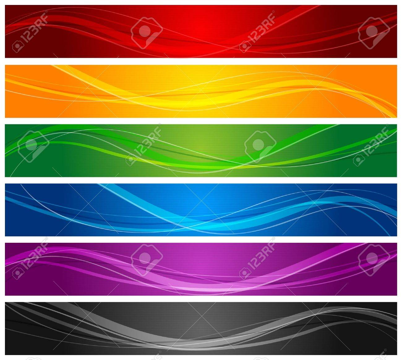 colorful wavy line banners Stock Vector - 9090452