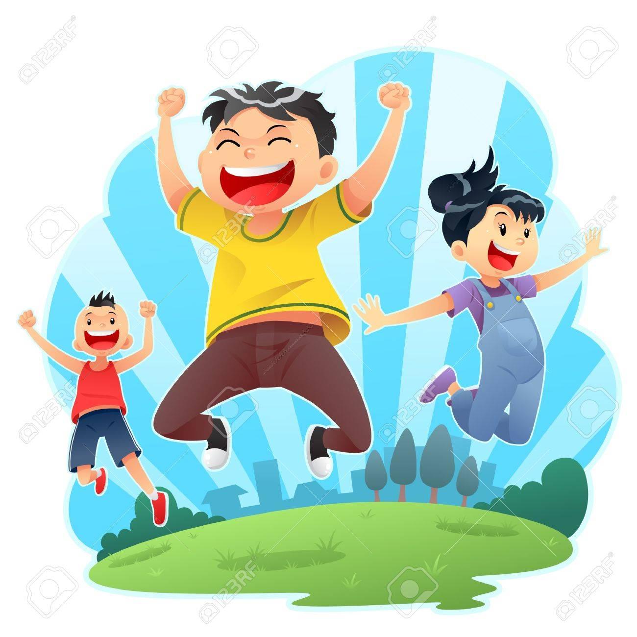 Happy Jumps Stock Vector - 13705783