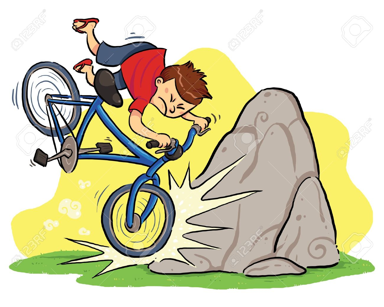 Hit A Rock  A boy cycling and then hit a rock Stock Vector - 19257684