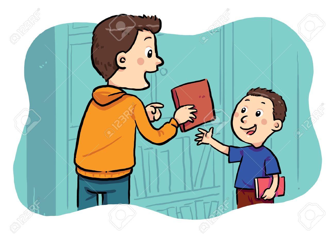 Borrowing A Book  A boy borrowing a book in the public library Stock Vector - 19257630