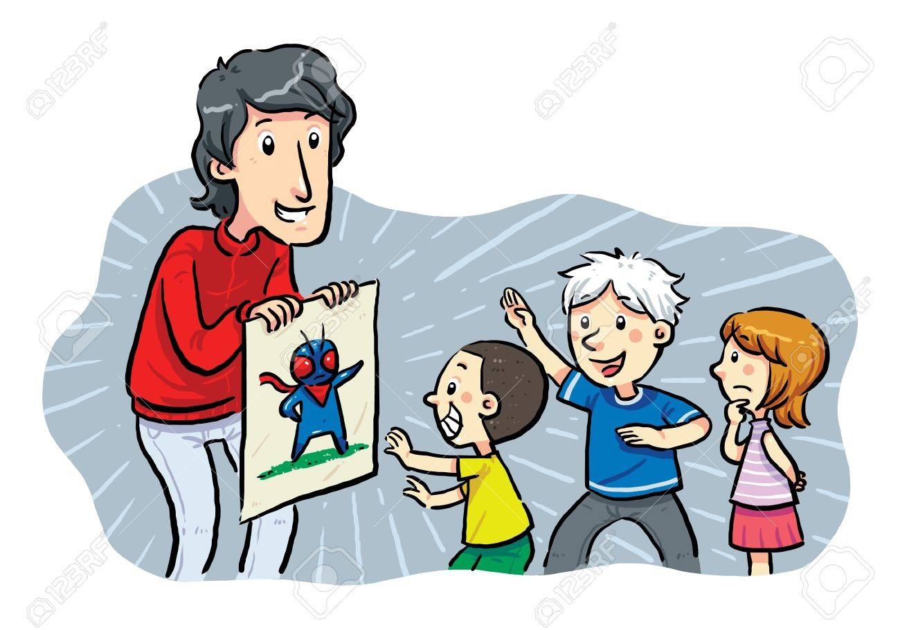 Children Heroes  A man showing a hero image to children Stock Vector - 19257673