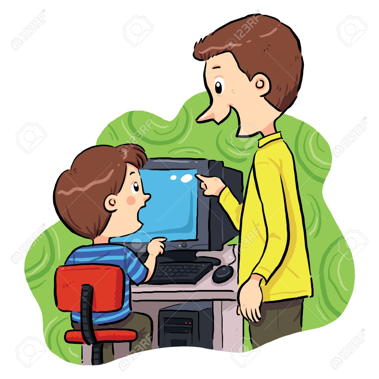 Computer Learning  A boy learning how to operating computer Stock Vector - 19257668