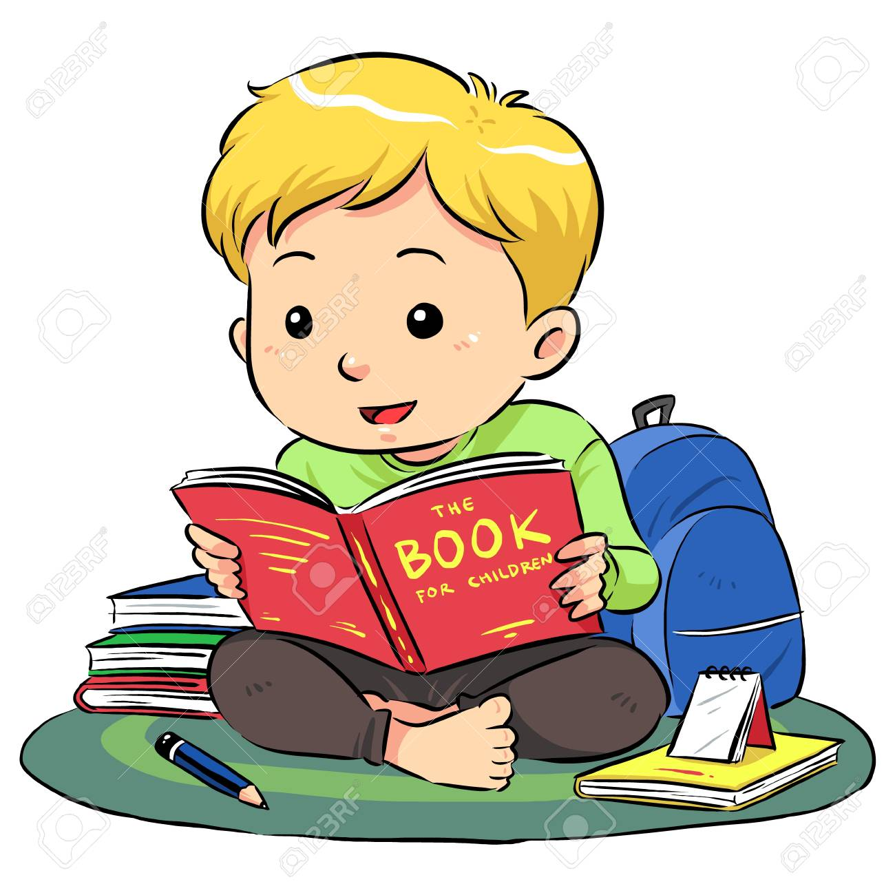 Reading A Book  A boy sitting and reading a book Stock Vector - 19257657