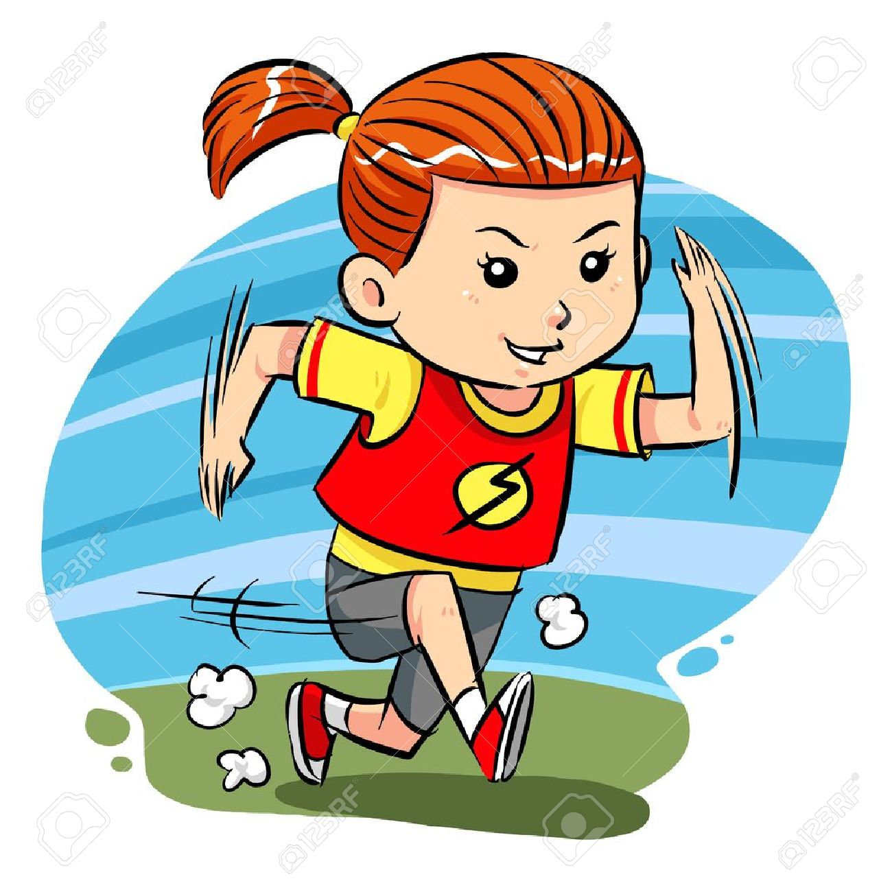Running Girl A Little Girl Do Running Exercise Royalty Free Cliparts Vectors And Stock Illustration Image 19257626