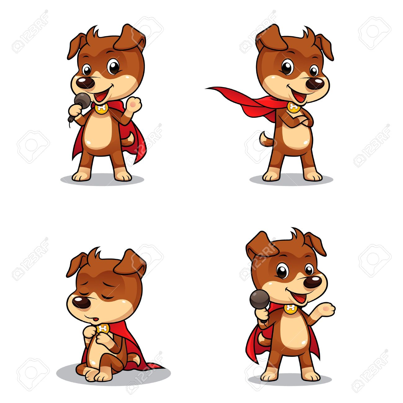 Superhero Puppy Dog 01  4 different poses of superhero puppy dog Stock Vector - 19257679