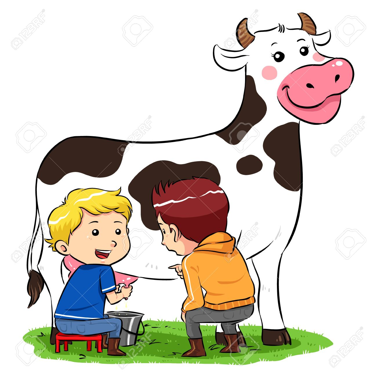 Milking A Cow  Children milking a cow in ranch farm Stock Vector - 20360759
